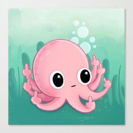 Octopus Flipping the Bird Canvas Print