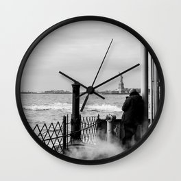 Liberty from the back of The Boat Wall Clock