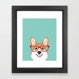 Teagan Glasses Corgi cute puppy welsh corgi gifts for dog lovers and pet owners love corgi puppies Framed Art Print