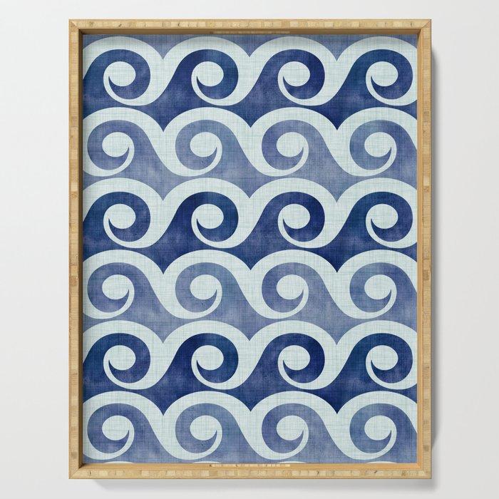 Retro Tropical Beach Waves - Indigo Blue Woodblock Serving Tray