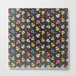 Day Of The Dead Pattern | Dia De Los Muertos Skull Metal Print