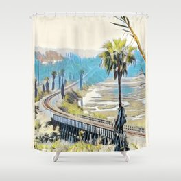 Train Tracks in Cardiff by the Sea Shower Curtain