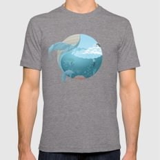 Whale Jump Mens Fitted Tee Tri-Grey X-LARGE