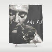 christopher walken Shower Curtains featuring Christopher Walken / Cat by Earl of Grey