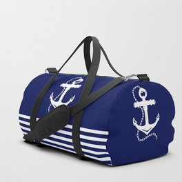 AFE Navy & White Anchor and Chain Duffle Bag