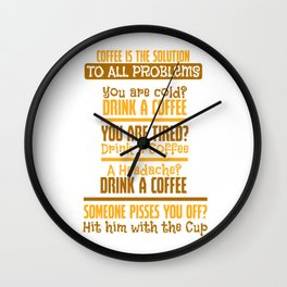 coffee caffeine tired headache funny gift Wall Clock