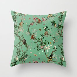 Monkey World Green Throw Pillow