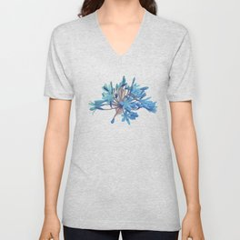 Blue flower Unisex V-Neck