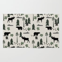 Camping woodland forest nature moose bear pattern nursery gifts Rug
