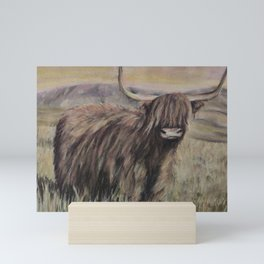 Scottish Cow, Highlands, Scotland, hairy animal, drawing in pastels, heart, love by Luna Smith, LuArt Gallery Mini Art Print