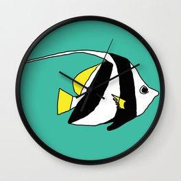 Schooling Bannerfish natural colors Wall Clock