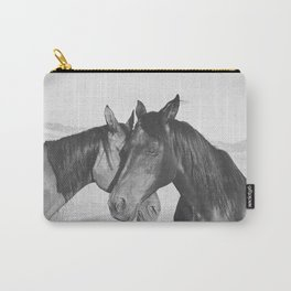 Horse Hug in Black and White Carry-All Pouch