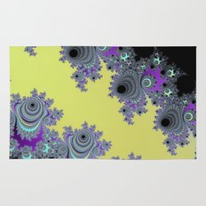 Asymmetrical Fractal in Yellow, Black and Purple Rug