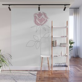 One Line Rose Wall Mural