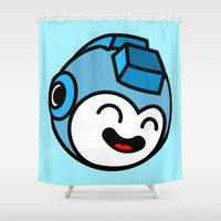 mega man Shower Curtains featuring Mega Man by La Manette