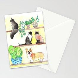 Cats, Corgi, Plants on Shelves Stationery Cards
