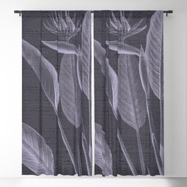 Bird Of Paradise - Tropical Floral Botanical Pastel Blue Blackout Curtain