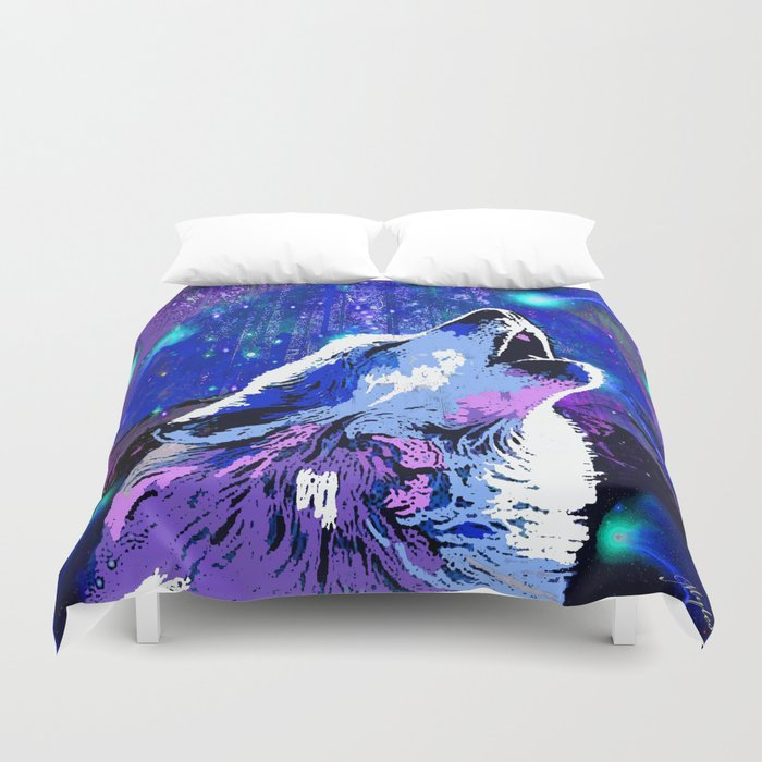 WOLF MOON AND SHOOTING STARS Duvet Cover