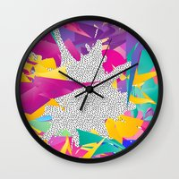 80s Wall Clocks featuring 80s Abstract by Danny Ivan