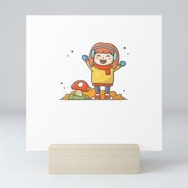 Happy kids character playing in autumn season2 Mini Art Print