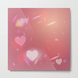 Abstract pink background, light glare. Heart. Valentines day card Metal Print