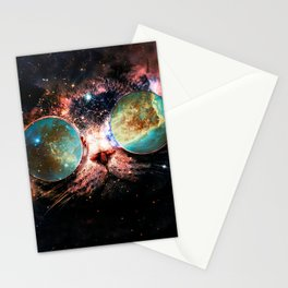 Cool Space Cat with Telescope Glasses in space Stationery Cards