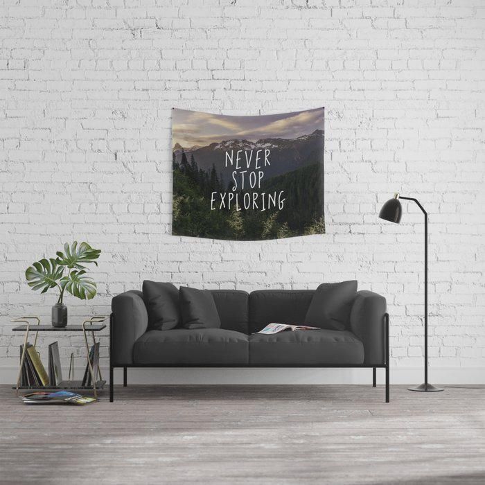 Never Stop Exploring Wall Tapestry