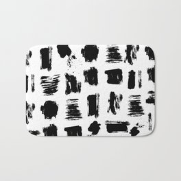 Modern black white artistic watercolor brushstrokes Bath Mat