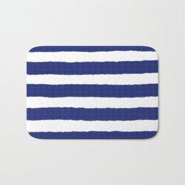 Nautical Navy Blue and White Stripe Print Bath Mat