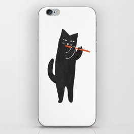 Black cat with flute iPhone Skin