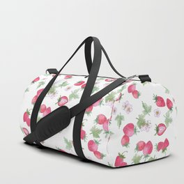 Watercolor . Strawberry on a White background . Duffle Bag