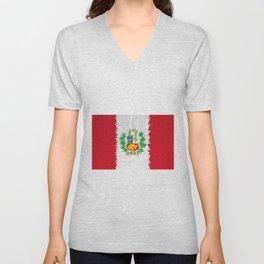 Extruded flag of Peru Unisex V-Neck