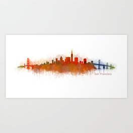 San Francisco City Skyline Hq v3 Art Print
