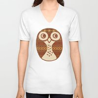 navajo V-neck T-shirts featuring Navajo Owl  by Terry Fan