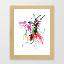 Flying Hummingbird and Abstract Flowers, Turquoise, pink watercolor bird artwork Framed Art Print