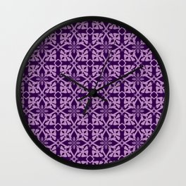 Ethnic tile pattern purple Wall Clock