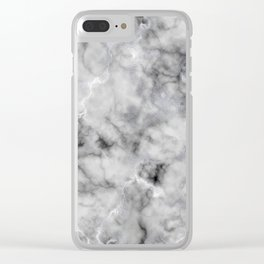 Grey and Silver Veined Faux Marble Repeat Clear iPhone Case
