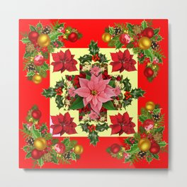 RED & PINK POINSETTIAS CHRISTMAS ORNAMENTS ART Metal Print