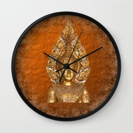 Golden Buddha in copper paper background and digital clouds Wall Clock