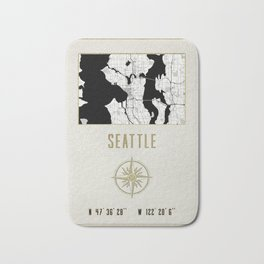 Seattle - Vintage Map and Location Bath Mat