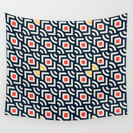 Round Pegs Square Pegs Navy Blue Wall Tapestry