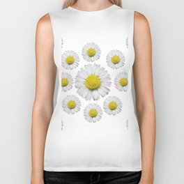 ALL WHITE SHASTA DAISY FLOWERS ART Biker Tank