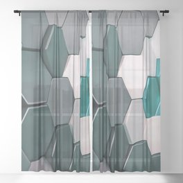 What The Hex 3D Geo Abstract In Steel, Turquoise Blue and White Sheer Curtain