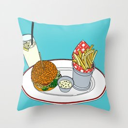 Burger, Chips and Lemonade Throw Pillow