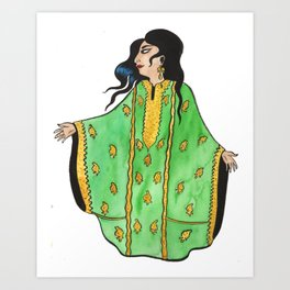 Woman In Green Thobe Art Print