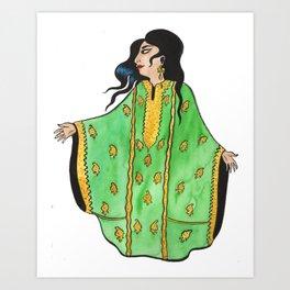 Woman In Green Thobe Art Print