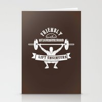 the neighbourhood Stationery Cards featuring Friendly Neighbourhood Lift Engineers by Daniel Thompson
