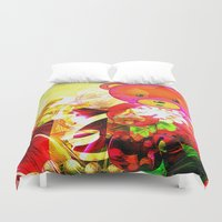 arnold Duvet Covers featuring Arnold celebrates Christmas by shiva camille