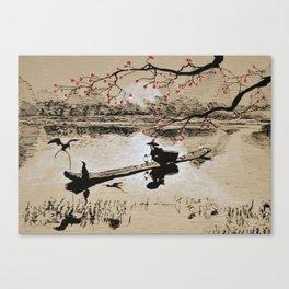 Bird Fishing Canvas Print