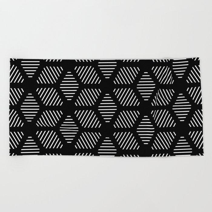 Geometric Line Lines Diamond Shape Tribal Ethnic Pattern Simple Simplistic Minimal Black And White Beach Towel By Aej Design
